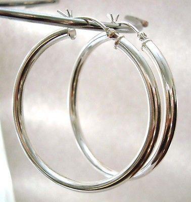 40mm 925 Sterling Silver Eurowire 3mm tube hoop round  earrings  ear wire KE01