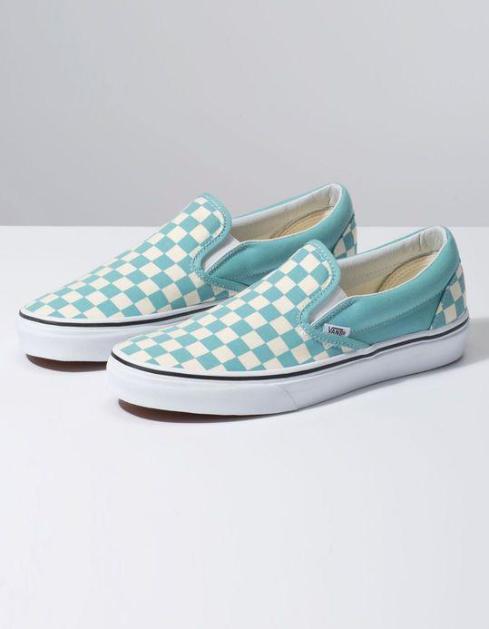 VANS Checkerboard Classic Slip-On Aqua