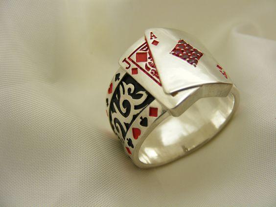 $159.00 BLACK JACK 21 Mens Ring!!! by DiamondsJewelers4U on Etsy.com
