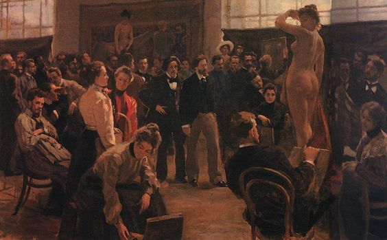 Statement of the model in the studio of Ilya Repin Academy of Arts - Boris Kustodiev