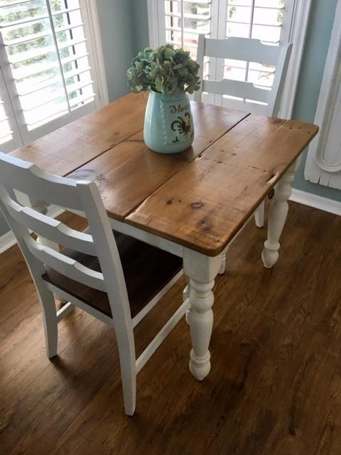 Petite White Farmhouse Table With Drawer Made With 100 Year Old