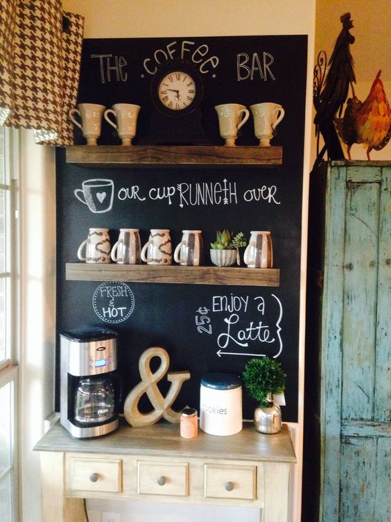 Coffee bar inspo; love the chalkboard wall: