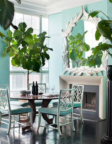 fiddle leaf fig indoor plant dining room turquoise mantel the aestate