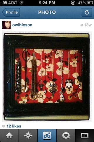 My framed jewelry holder :)