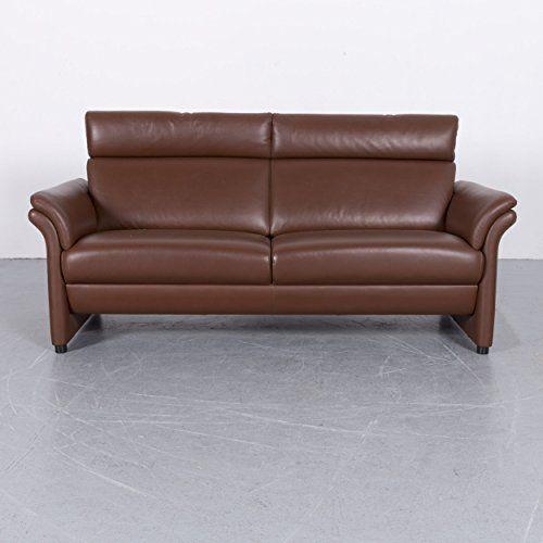 Erpo Designer Leder Sofa Braun Zweisitzer Couch Echtleder 5969