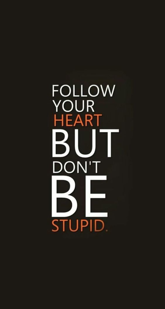 Follow Your Heart But Don T Be Stupid Read More 25 Optimistic Follow Your Heart Quotes Followyour Following Your Heart Quotes Be Yourself Quotes True Quotes