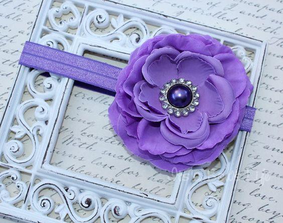 Girls Purple Spring Bloom Flower HeadbandIts a by ItsaBowsLife, $9.85