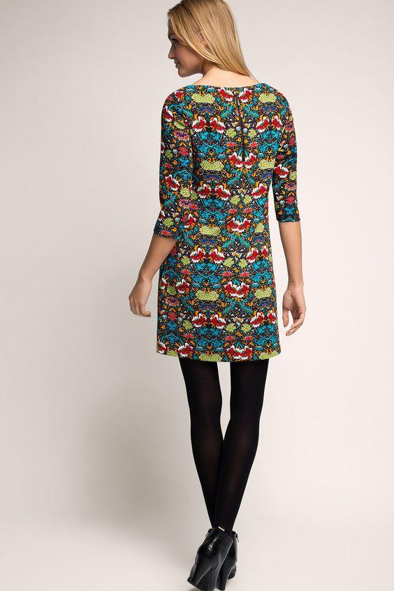 Esprit - Gewebtes Kleid mit Retro-Print im Online Shop kaufen