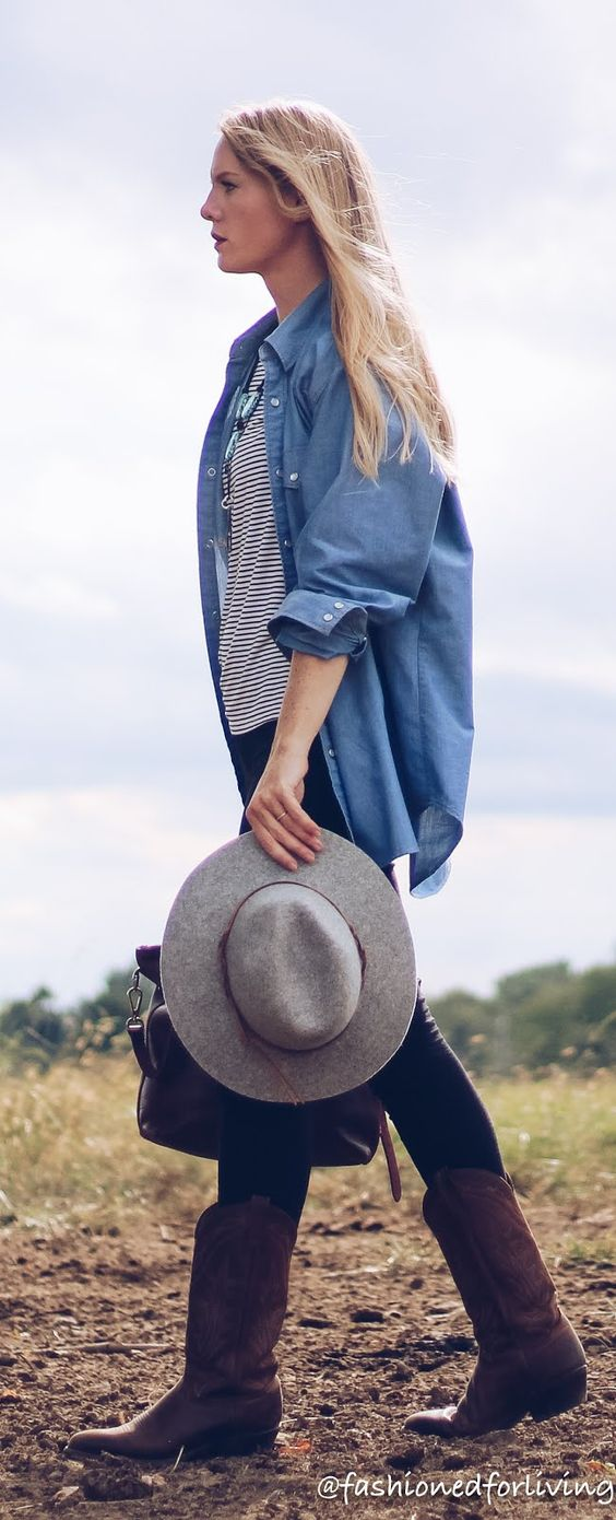 cowgirl boots outfit with leggings, pearl snap chambray shirt and madewell bag. womens fall cowgirl boots outfit