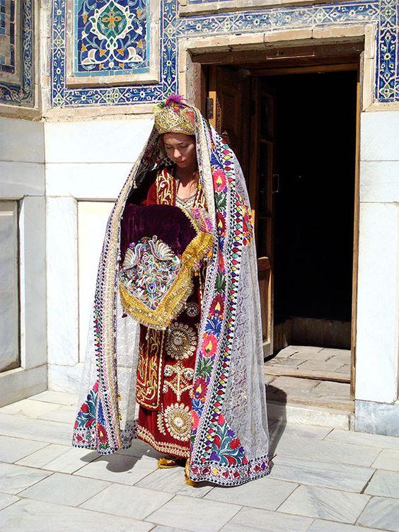 Uzbek Bride Wearing Traditional Clothes