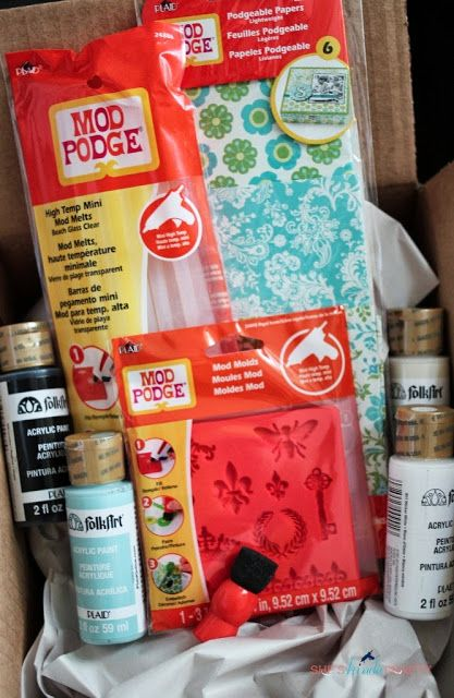 Mod Melts: a new product from Mod Podge, it's kind of like a hot glue stick but when it's set it's more like resin. Can be painted, stained, and dyed afterward.