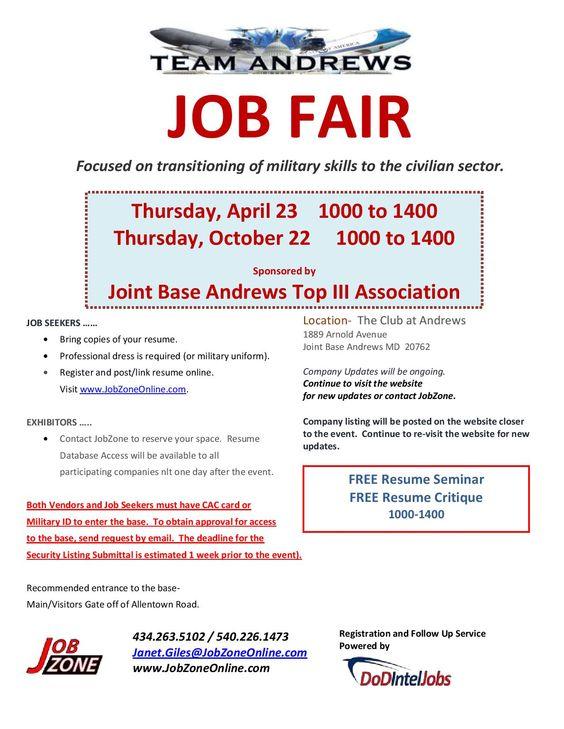 Joint Base Andrews Job Fair April 23, 2015 \ October 22, 2015 - free resume critique