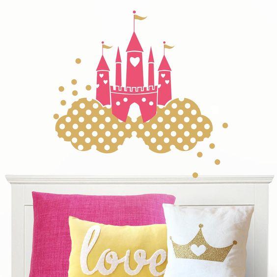vinilo infantil castillo de princesas bonito vinilo de pared que representa un mgico castillo de