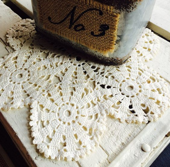 Cream Hand Crocheted Doily  8 inch  Vintage Decor  by Painting4him