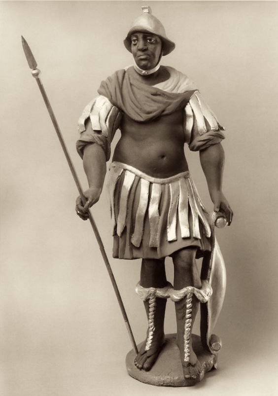 Anonymous German Artist  Saint Maurice Clad as a Roman Soldier  Germany (early 1700s)  Polychrome and Gilded Wood, 82 cm.  The Image of the Black in Western Art Research Project and Photo Archive, W.E.B. Du Bois Institute for African and African American Research, Harvard University