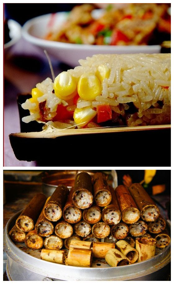 Delicious Bamboo rice. The Zhuang minority cook rice in a hollow piece of bamboo which gives it a distinctive flavor.