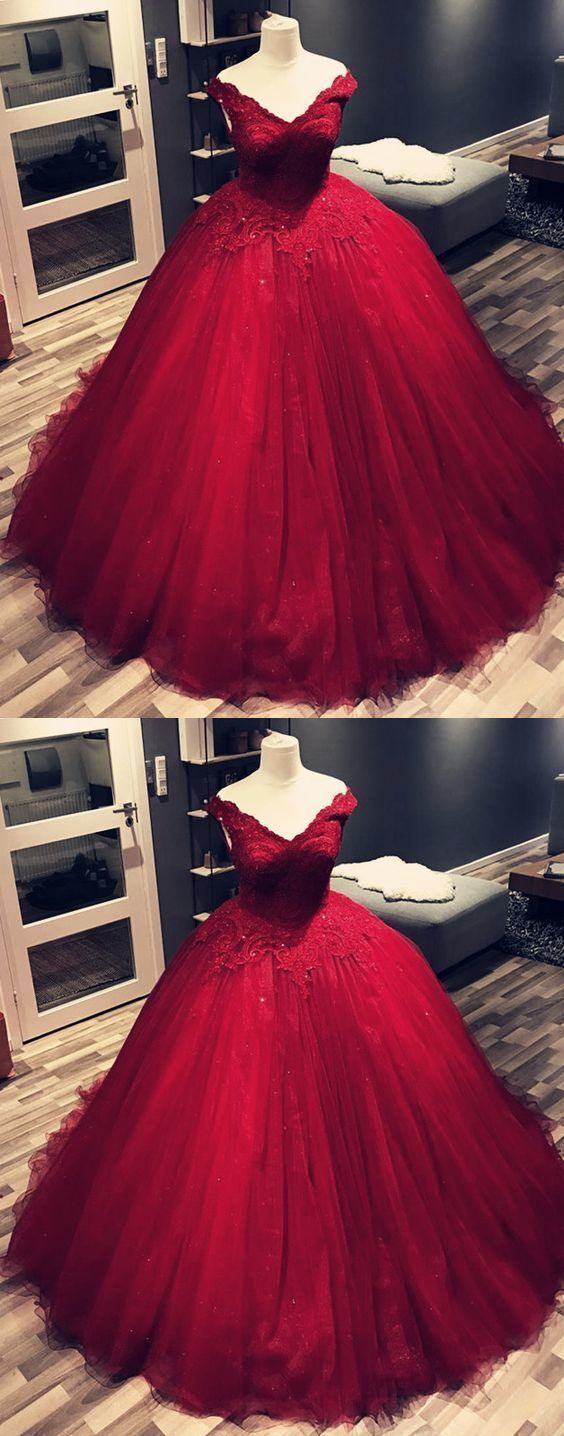 Charming Wine Red V Neck Lace Tulle Wedding Dress Appliques Ball Gown Prom Dresses M7953 Burgundy Prom Dress Maroon Prom Dress Prom Dresses Ball Gown [ 1436 x 564 Pixel ]