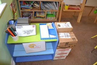 Post Office Role Play.  http://teeatimeplayschool.blogspot.com/2012/02/post-office-and-mail-carrier-role-play.html