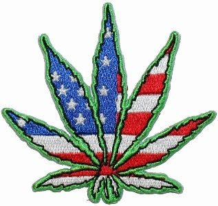 Pot Hemp Marijuana Leaf US Flag Hippie Embroidered by CoolPatches, $4.99