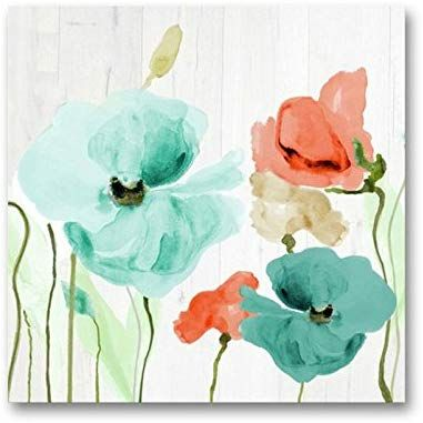 Amazon Com Genius Decor Watercolor Poppies Flowers In Teal And