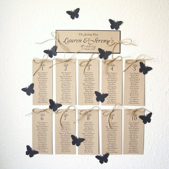 Beautiful idea for seating plans - replace the butterflies for whatever wedding theme you have.  Gorgeous!