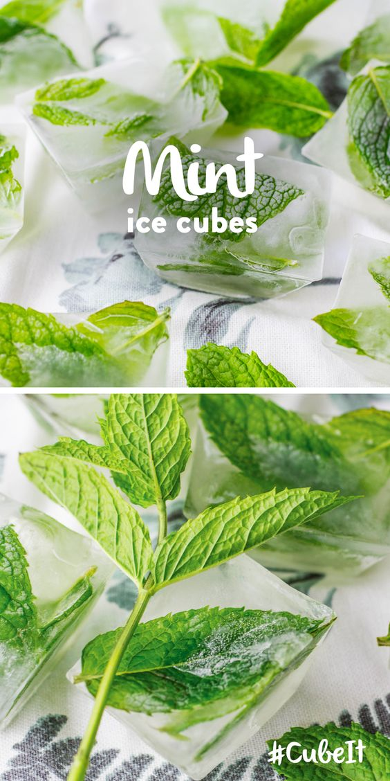 Mint ice cubes. TIP – Perfect in ice-tea or Pimms!  1) Chop up fresh mint & fill your ice cube tray half full. 2) Fill your ice cube tray with water and place in the freezer. ***** Want to win a Samsung Food ShowCase Fridge Freezer? Check out our #CubeIt competition and #PinToWin! go.currys.co.uk/iwJE0n *****