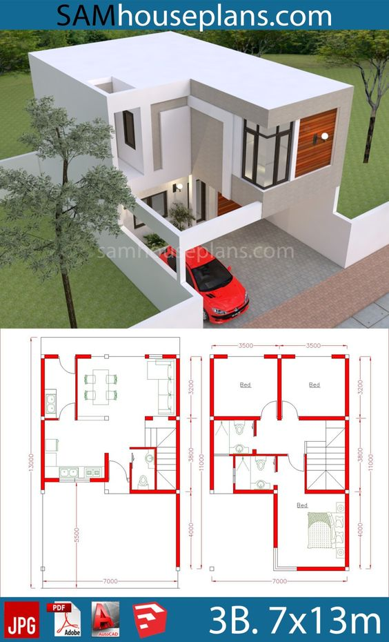 House Plans 7x13m with 3 Bedrooms - Sam House Plans