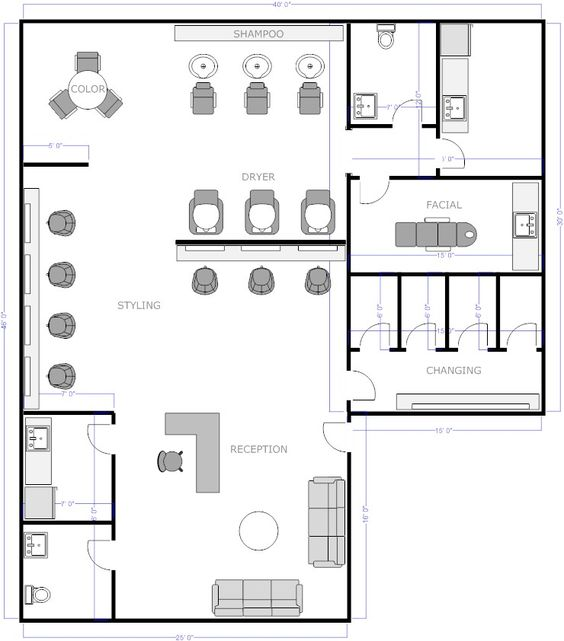 Salon Floor Plan 1. Only change the facial into a nail room or office.