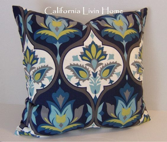 Pacific Blue Throw Pillows : Pacific Blue Pillow Cover / 20