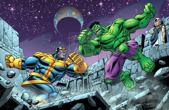 Thanos vs Hulk in Marvel comics