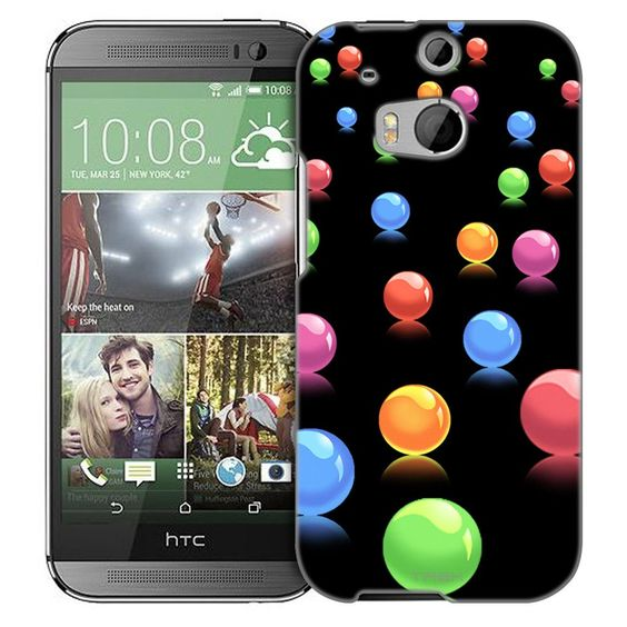 HTC One M8 Colorful 3D Balls on Black Slim Case