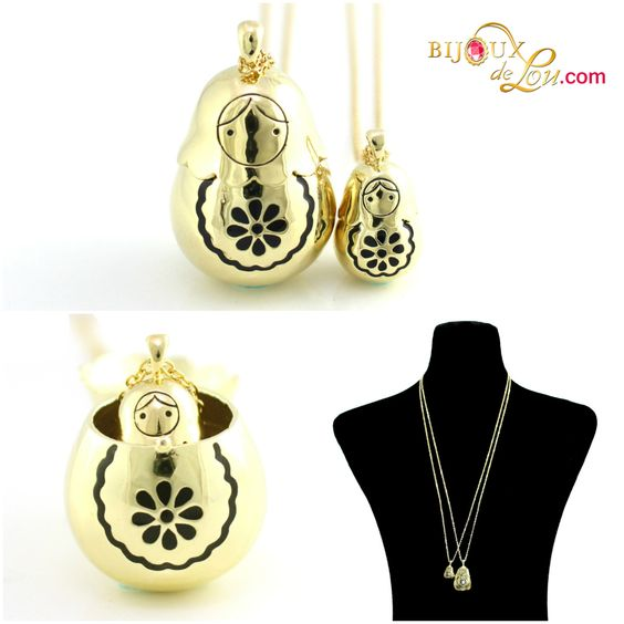 Gold-plated Matryoshka Necklace Set: Each set consists of a mother locket on a long gold plated chain & a baby doll pendant on a long gold plated chain. The mother locket is around 1 3/8 inches high while the baby is 5/8 inch high. The pendants are made of gold plated brass. http://bijouxdelou.com/index.php/products/by-theme/signature-pieces/product/gold-enameled-matryoshka-necklace-set