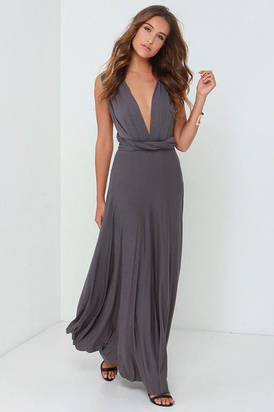 Exclusive Tricks Of The Trade Dark Grey Maxi Dress Grey Maxi