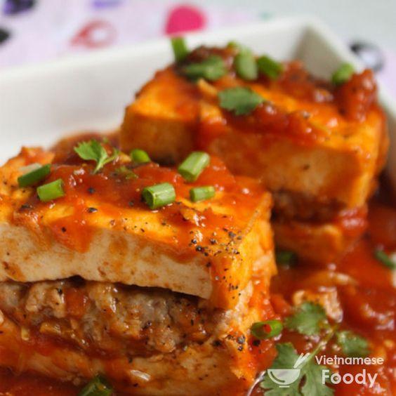 Pork-Stuffed Tofu In Tomato Sauce (Đậu Hũ Nhồi Thịt Sốt Cà Chua) for fried & stuffed tofu in tomato sauce is a meatified version of the popular Vietnamese dish of tofu in tomato sauce