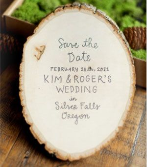 wood slice invitation