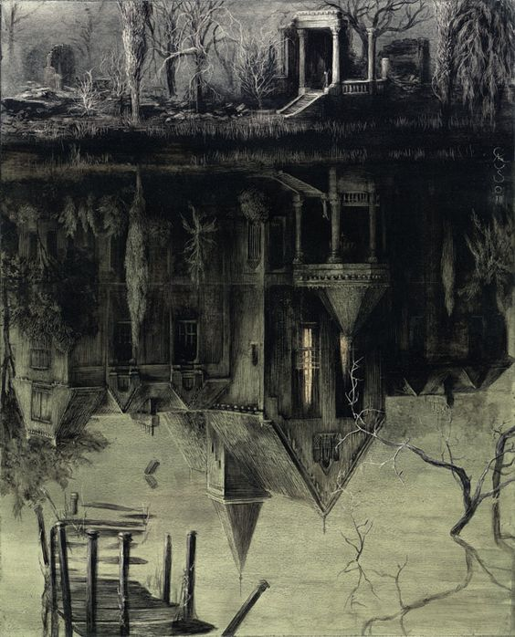 Santiago Caruso : The Spectral House / Ink and scratching over paper / 32 cm x 24 cm / 2013: