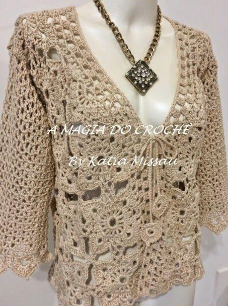 A MAGIA DO CROCHÊ - Katia Missau: Casaqueto de Crochê - Casaqueto Velmont