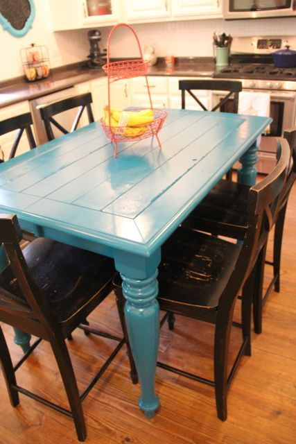 Thrifty Turquoise Dining Table Redo Before And After Home Pretty I