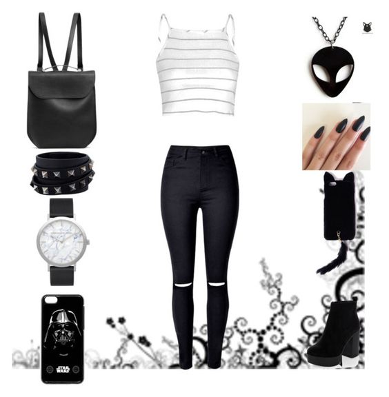 """""""Untitled #92"""" by evewalts16 ❤ liked on Polyvore featuring Glamorous, New Look, Missguided, GRETCHEN, Valentino, Elwood and black"""