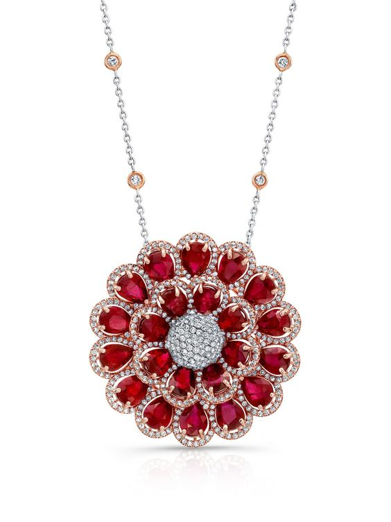 Norman Silverman 18k Pear Shape Ruby and Diamond Flower Necklace at London Jewelers!