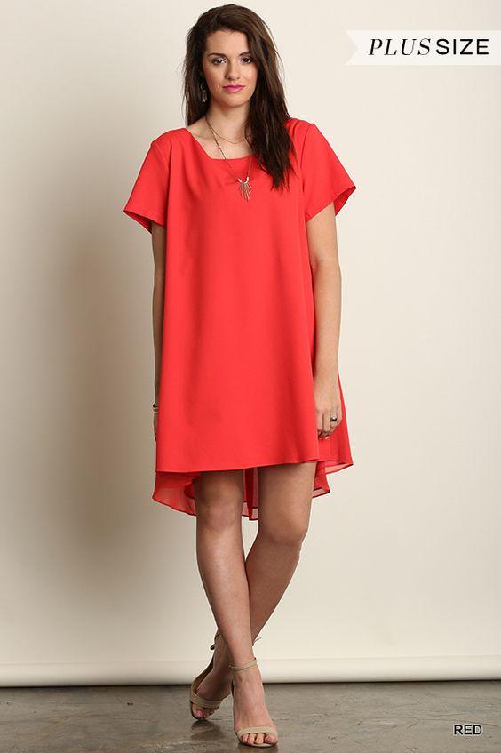 Short sleeve A line dress - red www.poshclicks.com