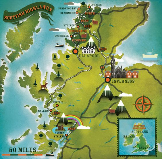 Scottish Highlands illustrated map – Scotland Travel Map