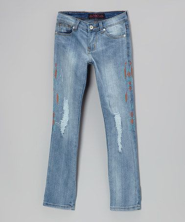 Take a look at this Medium Wash Distressed Paint Jeans by Lavo Collections on #zulily today!
