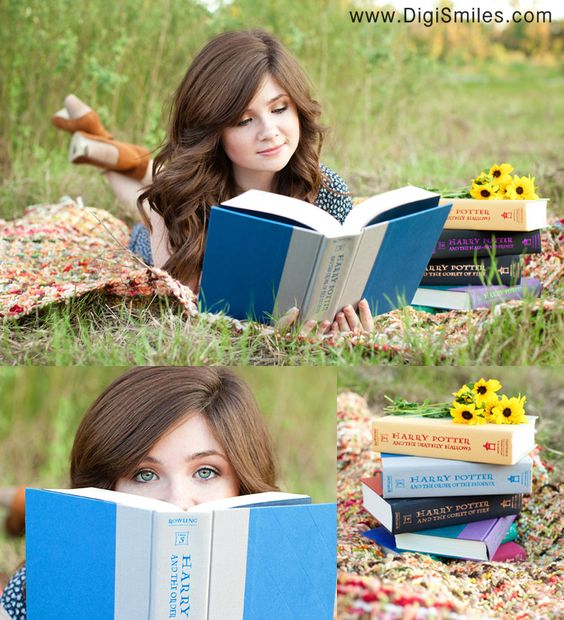 Book worm senior pic---This is so awesome! I can think of a few young women that this would work perfectly!