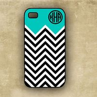 iPhone 4 case  - Tiffany blue with black and white chevron