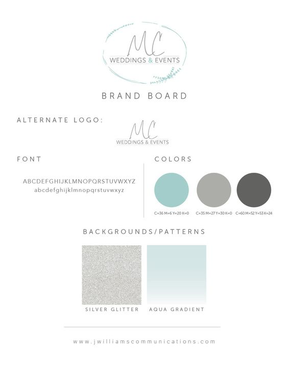 #Logo #design and brand board for Meagan Crain Weddings and Events #Tucson - soft turquoise blue, gray, and silver glitter