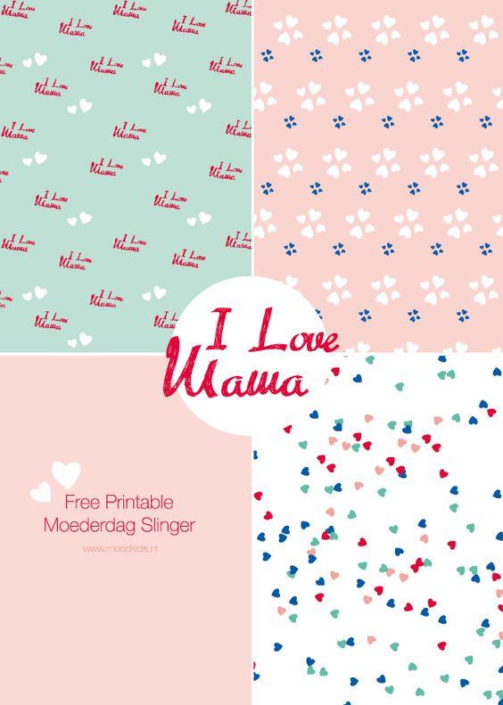 moederdag slinger, hartjes, patroon, garland, papier, download, printable, mothersday
