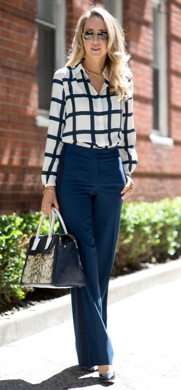 White shirts blue trousers handbag black heels. Formal elegant business style street clothing women style @roressclothes closet ideas apparel fashion ladies outfit
