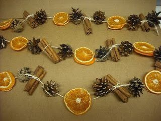 Dried orange slices, cinnamon sticks and pinecones. Pretty, but PRICEY w/the cinnamon sticks. Substitute something.