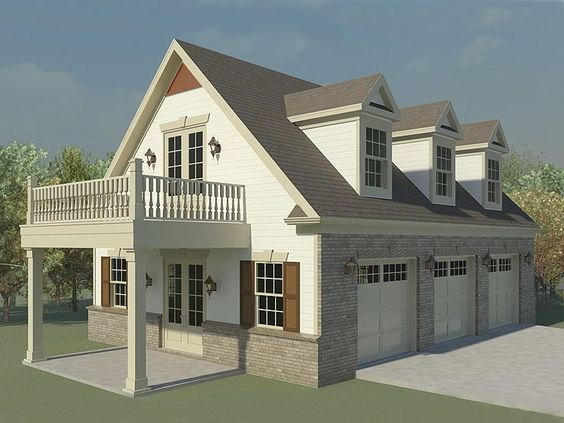 Garage with loft 0124 garage plans and garage for Carriage house plans with loft